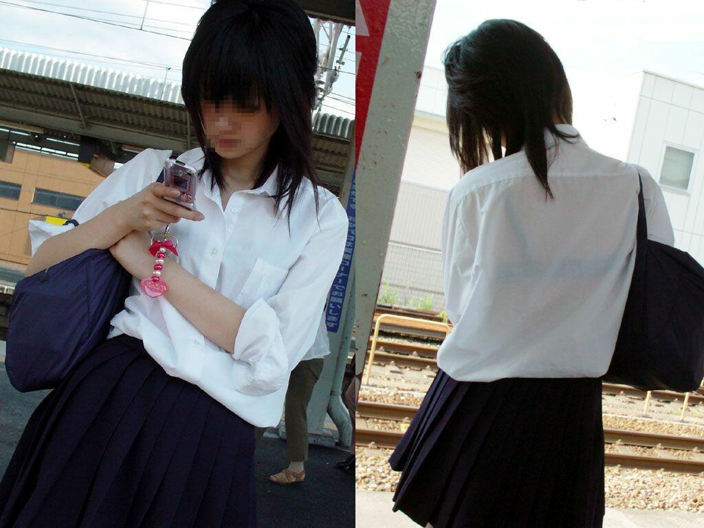 【JK透けブラ画像】白いワイシャツからはっきり見えるJKの透けブラ画像:とりちゃんねる12