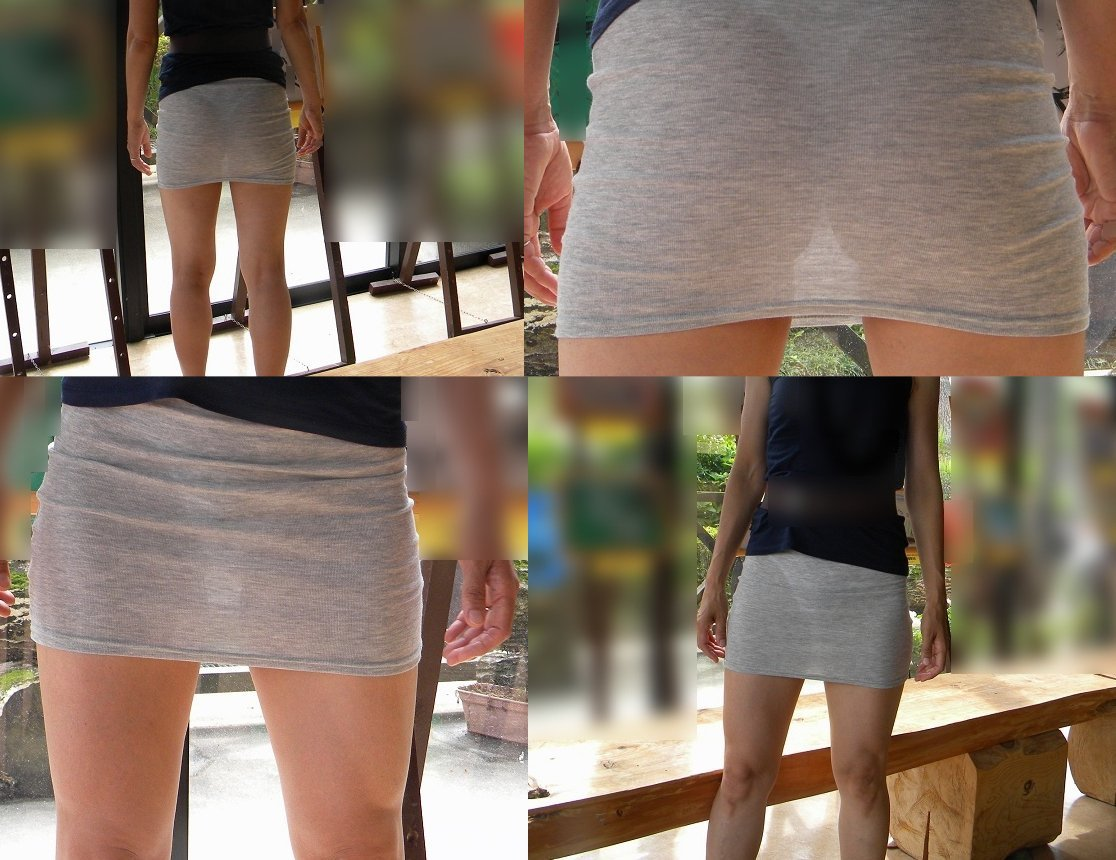 【街撮り透けパン】わざわざパンチラ狙うまでもないwスカートから透けて浮いてる淑女の下着画像 10